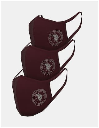 U.S. Polo Assn. Unisex Adults Red Triple Layer Anti Bacterial Reusable Outdoor Face Masks - ( Pack Of 3)