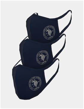 U.S. Polo Assn. Unisex Adults Blue Triple Layer Anti Bacterial Reusable Outdoor Face Masks - ( Pack Of 3)
