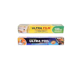ULTRA FILM 1 Cling film roll of 100 Mtr & 1 Aluminium Foil Roll of 25 Mtr Pack of 2