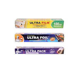 ULTRA FILM 1 Cling Film Roll of 100 m 1 Aluminium Foil Roll of 20+5 m  & 1 Parchment paper roll of 7 m Pack of 3