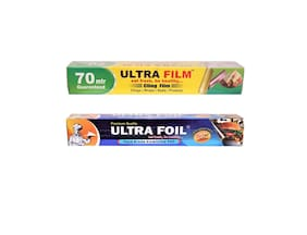 ULTRA FILM 1 Cling film roll of 70 Mtr & 1 Aluminium Foil Roll of 25 Mtr Pack of 2