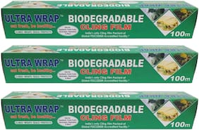 Ultra Wrap Biodegradable Cling Film 100 Meter Pack of 3