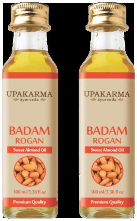Upakarma Ayurveda Badam Rogan Sweet Almond Hair Oil 100 ML (Pack of 2)
