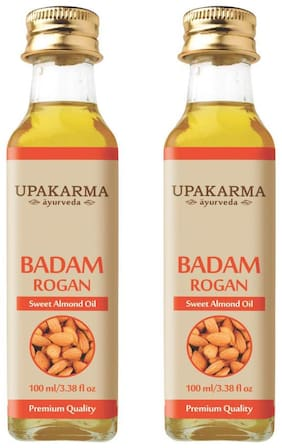 Upakarma Ayurveda Natural Cold Pressed Sweet Almond Oil For Hair, Skin And Body - 100Ml (Pack Of 2)
