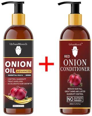 UrbanMooch Advanced ONION Oil 200 ml & ONION Conditioner 200 ml For Hair Growth;Dandruff;& Silky Shine Hair