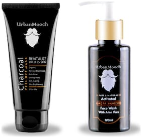 UrbanMooch Activated Charcoal Mask & Activated Charcoal Face Wash for Anti Agig, Anti Acne, Blackheads Removal, Skin Brightening