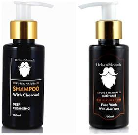UrbanMooch Charcoal Face Wash & Charcoal Shampoo for healthy skin & hair