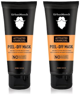 UrbanMooch New & Improved Charcoal Peel Off Mask with Vitamin C for Instant Glow, Blackheads Removal & for Deep Cleansing (Each 60 g) Pack of 2