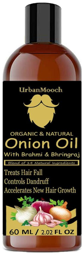 UrbanMooch Onion Hair Oil with Blend of 14 Natural Oils for Hair Growth;Hair Fall Treatment;Anti-Dandruff & Prevents From Greying 60ML Pack Of 1