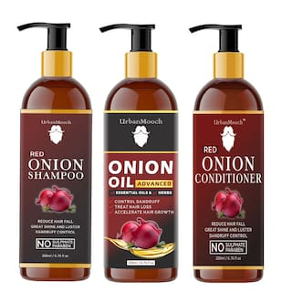 UrbanMooch Red ONION Oil 200 ml;Red ONION Shampoo 200 ml and ONION Conditioner 200 ml (Pack of 3)