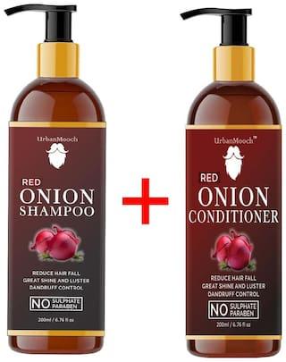UrbanMooch Red ONION Shampoo 200 ml;ONION Conditioner 200 ml Ultimate Hair Combo (Pack of 2)