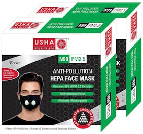 Usha Shriram FRESCO N99 PM2.5 HEPA Anti Pollution Face Mask (Pack of 2)