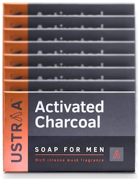 Ustraa Activated Charcoal (Deodorizing Soap For Men)-100gm ( Pack of 8)