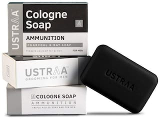 Ustraa Ammunition Cologne Soap With Charcoal & Bay Leaf 125 g (Pack of 3)