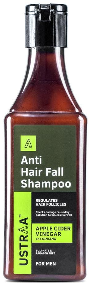 Ustraa Anti Hair Fall with Apple Cider Vinegar - Anti-Hair Fall Shampoo -  200ml - No Sulphate, No Parebens, Strengthens hair and cleans scalp to prevent hair fall