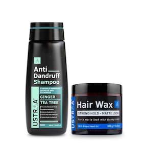 Ustraa Anti Dandruff Shampoo - 250ml and Hair Wax Strong Hold Matte Look - 100g
