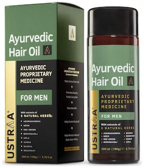 Ustraa Ayurvedic Hair Oil  with 8 Natural Herb extracts/Controls hair fall/Fights Dandruff/Ayurvedic Nourishment for Hair-200ml