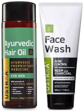 Ustraa Ayurvedic Hair Oil 200ml and Face Wash (Neem & Charcoal) 200g