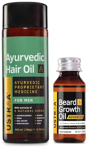 Ustraa Ayurvedic Hair Oil 200ml and Beardgrowth Oil Advanced 60ml