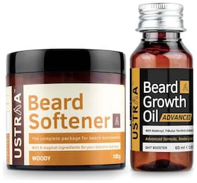 Ustraa Beardgrowth Oil Advanced 60 ml & Beard Softener 100g (Pack Of 2)