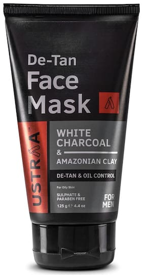 USTRAA Face Mask Oily Skin - Wash-off mask for cleaning oily skin with White Charcoal, No Paraben, Detox and De-tan face mask - 125g