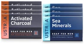 Ustraa Deodorizing  Sea Minerals (4 Soaps) or Activated Charcoal  (4 soaps) For Men 100gm( Pack of 8)
