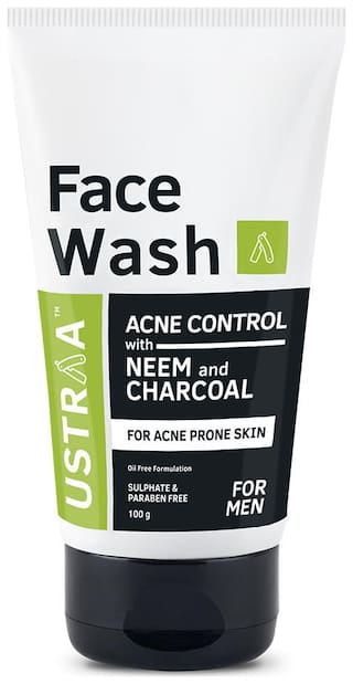 Ustraa Face Wash Acne Control - With Neem & Charcoal Face Wash - 100g - Oil control, Prevents Acne, Especially for Oily skin, No Sulphate No Paraben