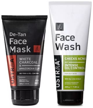 Ustraa Face Mask Oily Skin 125g and Face Wash Oily Skin 200g