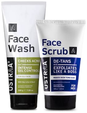 Ustraa Face Wash Oily Skin 200g & Face Scrub De-Tan 100g (Pack Of 2)