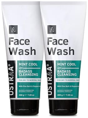Ustraa Face Wash - Dry Skin (Mint Cool) - 200g Set of 2