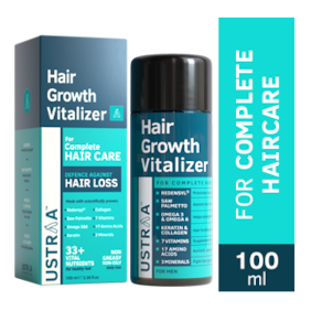 USTRAA Hair Growth Vitalizer - 100ml - Boost hair growth, Prevents hair fall, Delays Hair Greying, With Redensyl, Saw Palmetto, Wheatgerm & Jojoba Oil, No Mineral Oil