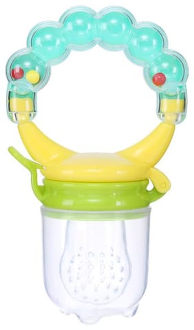 V.B.K Baby BPA - Silicon Free Food Nibbler For Fruit and Vegetables With Rattle Sound Handle (3-24 Months) Teether (Pack  of 1 )