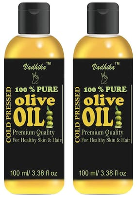Vadhika 100 % Pure & Natural Cold Pressed olive oil for Hair & Skin pack of 2 bottles of 100 ml