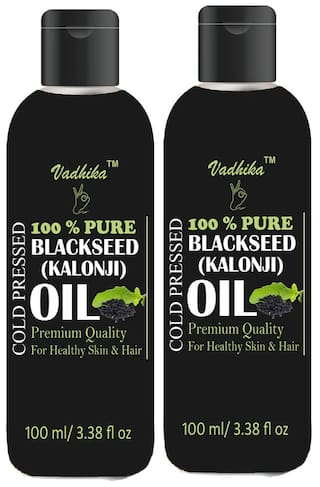 Vadhika 100 % Pure & Natural Cold Pressed Blackseed(kalonji) oil for Hair & Skin 100 ml (Pack of 2)