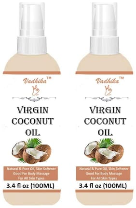 Vadhika 100% Organic Cold Pressed Extra virgin Coconut Oil (100ml each) Pack of 2