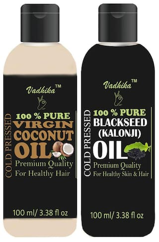 Vadhika 100 % Pure & Natural Cold Pressed Virgin Coconut & Blackseed(kalonji) oil for Hair & Skin  bottles of 100 ml (Pack of 2)