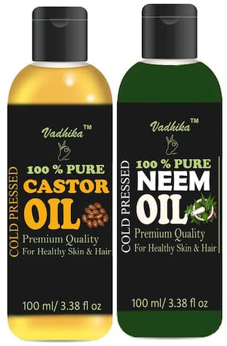 Vadhika 100 % Pure & Natural Cold Pressed Castor & Neem oil for Hair & Skin  pack of 2 bottles of 100 ml(200 ml)