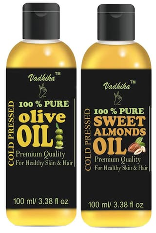 Vadhika 100 % Pure & Natural Cold Pressed Olive & Sweet Almonds oil for Hair & Skin pack of 2 bottles of 100 ml(200 ml)