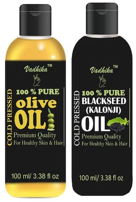 Vadhika 100 % Pure & Natural Cold Pressed Olive & Blackseed(kalonji) oil for Hair & Skin pack of 2 bottles of 100 ml(200 ml)