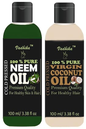 Vadhika 100 % Pure & Natural Cold Pressed Neem & Virgin Coconut oil for Hair & Skin  bottles of 100 ml (Pack of 2)