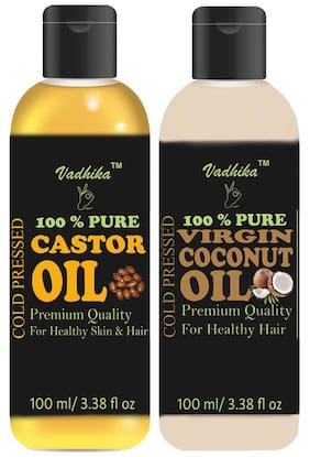 Vadhika 100 % Pure & Natural Cold Pressed Castor & Virgin Coconut oil for Hair & Skin pack of 2 bottles of 100 ml(200 ml)