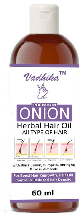 Vadhika AroMine Premium Herbal ONION Hair Oil (60 ml)Pack of 1