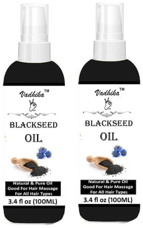 Vadhika Black Seed Oil Cold Pressed (Kalonji Oil) (100 ml each) Pack of 2