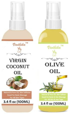 Vadhika Coconut Oil & Cold Pressed Extra Light Virgin Olive Hair Oils 100ml Pack Of 2