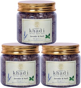 Vagad`s Khadi Lavender Basil Herbal bath salt Pack of 3 200gm Each