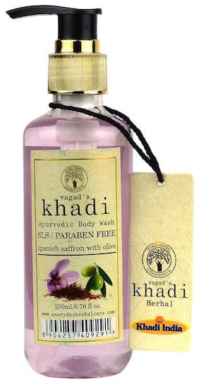 Vagads Khadi S.L.S and Paraben free spanish saffron with olive Body Wash (Pack of 1)