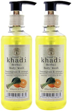 Vagads Khadi Lemongrass and Orange Body Wash (Pack of 2)