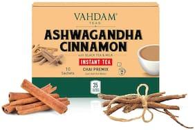 Vahdam Teas Ashwagandha Cinnamon INSTANT TEA Premix ( 10 Sachets x 8g )  Pack of 1