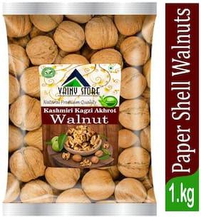 Vainy store 100% Natural Premium Kashmiri Kagzi Akhrot Jumbo Walnut in Shell Sabut Akhrot Walnuts (1 kg)