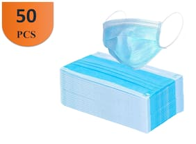 Vamear Pack of 50  3 Ply(with nose pin) Pharmaceutical Breathable Surgical Pollution Face Mask Respirator  (Blue, Free Size, 3 Ply)